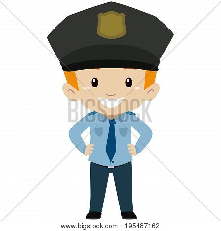 Vector Illustration of Policeman Kid Boy Standing