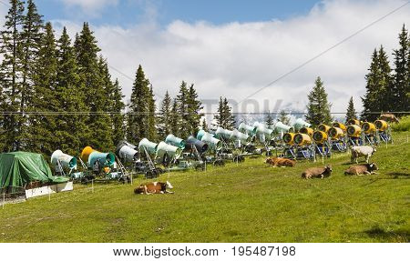 Snow Cannons In Summer, Austria