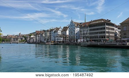 ZURICH, SWITZERLAND - JULY 04, 2017: View of historic Zurich city center, Limmat river and Zurich lake, Switzerland. Zurich is a leading global city and among the world's largest financial center