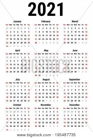 Calendar for 2021 Year on White Background. Week Starts Sunday. Simple Vector Template. Stationery Design Template
