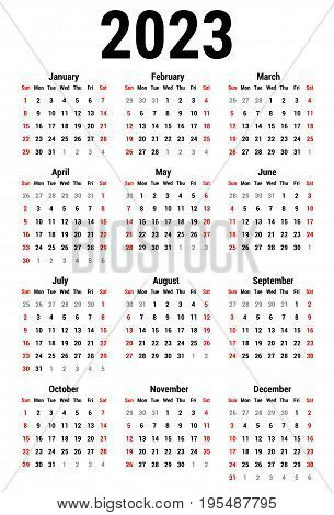 Calendar for 2023 Year on White Background. Week Starts Sunday. Simple Vector Template. Stationery Design Template