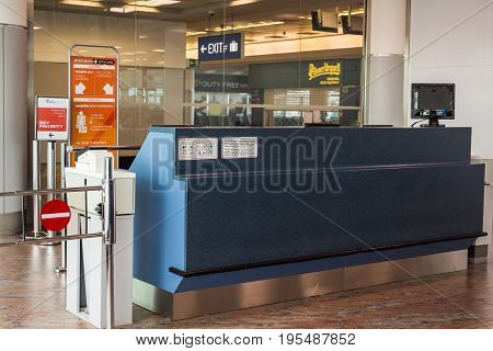 PRAGUE, CZECH REPUBLIC - JUNE 16, 2017: Empty gateway terminal in waiting area in airport.