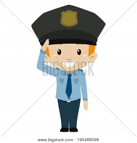 Vector Illustration of Policeman Boy Hand Salute