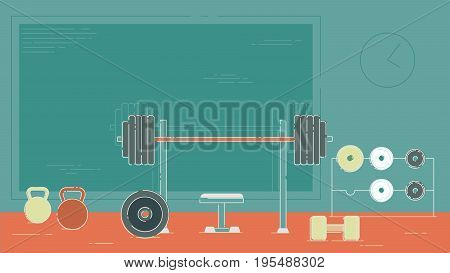 Gym exercise equipment room interior indoor set. Linear stroke outline flat style icons. Monochrome cycle bike power weight lifting gymnastics rings ball wall bars icon collection.