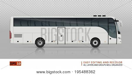 Bus vector template for car branding and advertising. Isolated coach bus set on white background. All layers and groups well organized for easy editing and recolor. View from right side.
