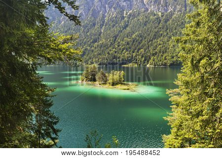 Lake Eibsee Island Near Garmisch, Germany
