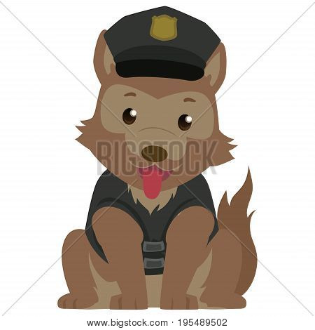 Vector Illustration of a Police Dog wearing a Police Cap
