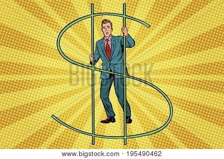 businessman behind bars money. Financial crime. Pop art retro vector illustration