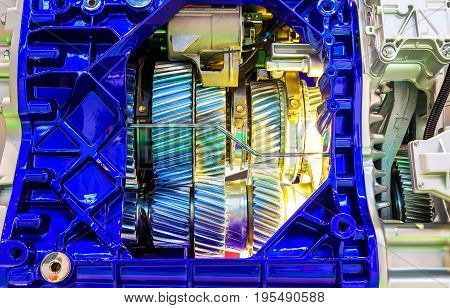gear inside the internal combustion engine closeup