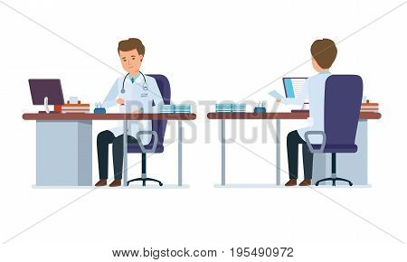 Set of character medical doctor. Healthcare and medical help. Doctor's office. Front and back view of the doctor in the treatment room. Vector illustration in cartoon style.