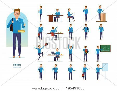 Set of character modern student. Education and training. Student in university, library, behind school place, at lecture, classes in the classroom. Front and rear view. Illustration in cartoon style.