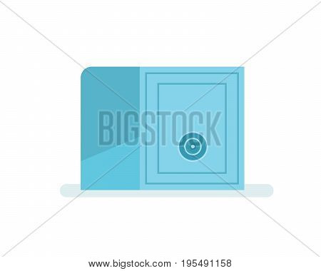 Metal closed safe with money and jewelry. Protection and safe storage of financial resources. Bank safe. Vector illustration isolated on white background.