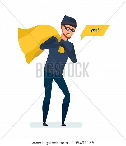 Thief, a robber, a criminal, steals money in a poke. Hacking of the door locks of the bank building. Thief of abduction of finance and jewelerry. Vector illustration isolated in cartoon style.
