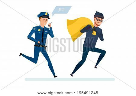 Thief broke the law. Persecution of a criminal thief. Human rights activist in pursuit of the criminal. The robber with money, runs away from the police officer. Vector illustration in cartoon style.