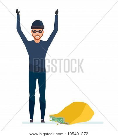 Thief broke the law. Detention and arrest of the offender, with bag of money. The abduction of finance and jewelerry. Vector illustration isolated in cartoon style.