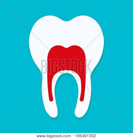 Tooth icon in flat style. Dentistry symbol. Vector illustration eps10.