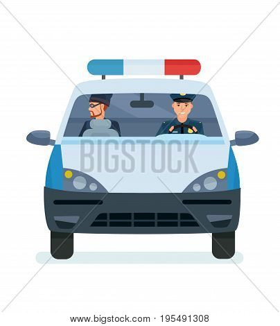 Arrest of a robber, a criminal violating of the law. Police officer is taking a thief to the police station. Conclusion in prison. Vector illustration isolated in cartoon style.