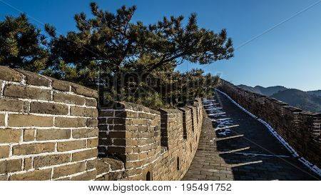 Chinese Wall on a clear winter day near beijing