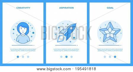 Creative woman, desire for a dream, goal. Outline blue banners, screens for mobile apps and web sites. Vector illustration.