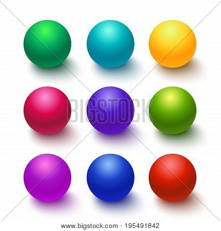 Setof colorful glossy spheres isolated on white. Vector illustration for your design.