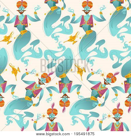 Happy genies with magic wands and magic lamps. Seamless background pattern. Vector illustration
