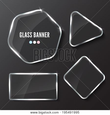 Glass plates set. Realistic vector transparent banners on dark background