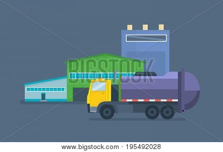 Garbage truck. Residential and commercial solid waste collection and transportation. Cleaning city. Household waste, service recycling. Vector illustration isolated.