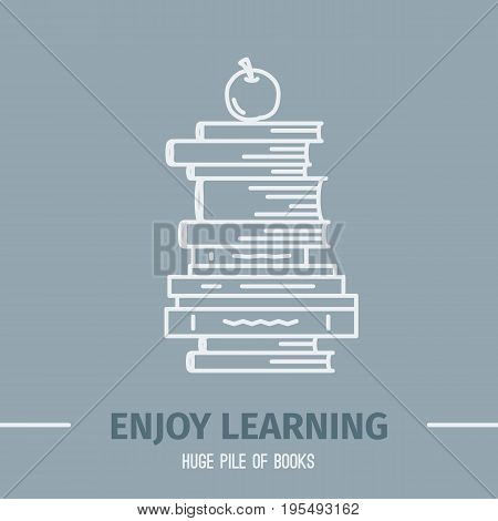 Thin lined book icon. Vector isolated on white outlined signs of different closed books in front and top view.
