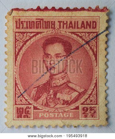 THAILAND - CIRCA 1914: A stamp printed in Thailand shows King Bhumibol Adulyadej prince of Siam circa 1963 25 satang