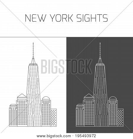 New York sights. Vector attractions of New York city in thin line icon style in black and white for design of tourist guide, brochure or banner Freedom Tower. One World Trade Center
