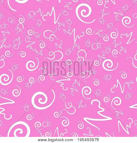 All-over Seamless Pink Swirls and curls Print