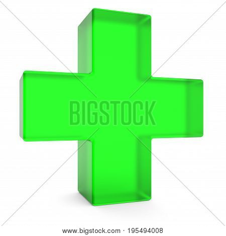 Green cross isolated on white background 3D rendering