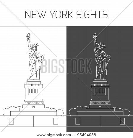 New York sights. Vector attractions of New York city in thin line icon style in black and white for design of tourist guide, brochure or banner - Statue of Liberty.