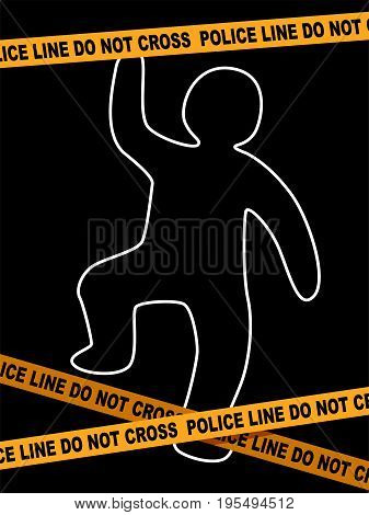 Vector Illustration of Police Line Crime Scene with dead Body Trace