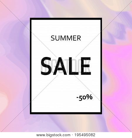 Summer sale template designed on holographic abstract background. Modern vector illustration with fog and golden texture