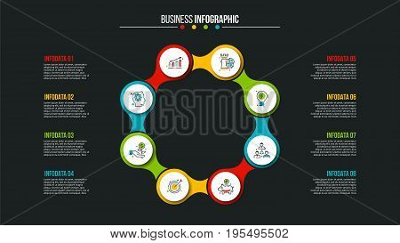 Business data visualization. Abstract elements of cycle diagram with 8 steps, options, parts or processes. Vector business template for presentation. Creative concept for infographic. Process chart.
