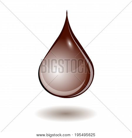 Chocolate drop. Isolated element on white background. Vector illustration.