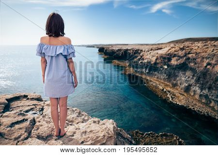 Young Woman Enjoying Beautiful Sea View On Greco Cape In Cyprus