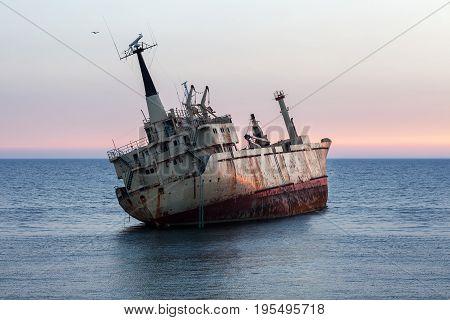 Dive ship at sunset.