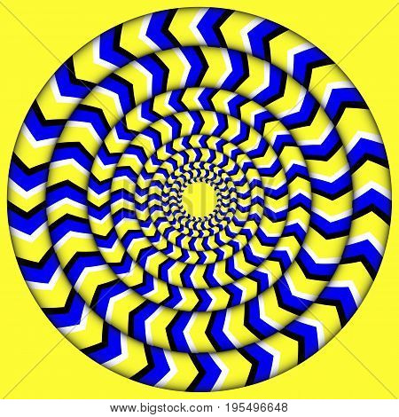 Hypnotic Of Rotation. Perpetual Rotation Illusion. Background With Bright Optical Illusions of Rotation. Optical Illusion Spin Cycle
