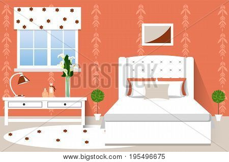 The interior of the bedroom . Cartoon. Vector illustration. Bed table window and flowers.