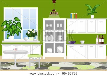 The interior of the kitchen. Cozy kitchen with furniture cabinets kitchen utensils plants. Flat design cartoon. Vector illustration.