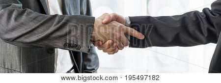 Wide Cropped View Of Two Businessmen Shaking Hands