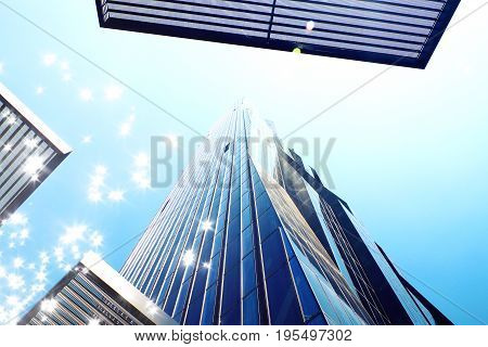 Film Effect. High Rise Office Tower With Blue Windows And Blue Sky. Modern Office Building,  Skycrap