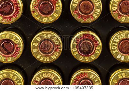 BRNO CZECH REPUBLIC -15 July 2017: Ammunition caliber 9x19mm. Sellier & Bellot has produced ammunition in the Czech Republic since 1825. A detailed look at the designations of the cartridges.