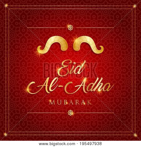 Islamic Festival of Sacrifice, Eid Al Adha Mubarak Greeting Card.