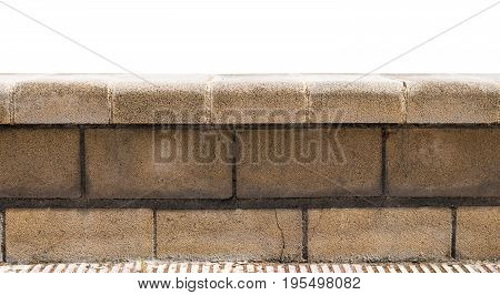 Stone parapet isolated on white background. Good background for your design