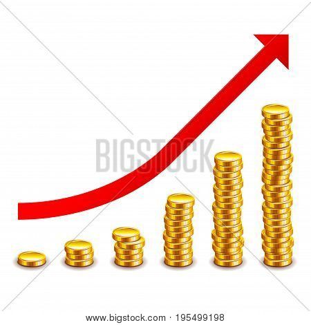 Gold coins growth graph isolated on white photo-realistic vector illustration