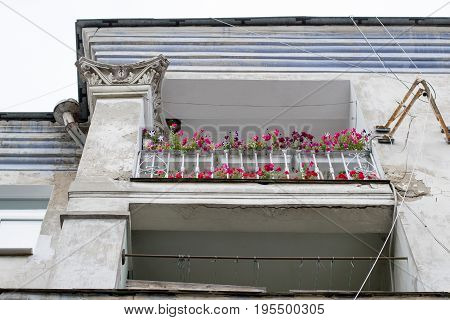 Flowers on the balcony of an old house