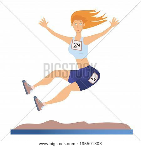Young woman doing long jump. Light athletics. Vector illustration, isolated on white background.